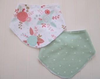 Baby Girl Dribble Bib Set, Set of 2 Dribble/Bandana Bibs: Floral Bib and Mint and White Triangle Bib
