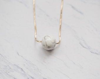 ASTRON   Marble Howlite Sphere Pendant Necklace