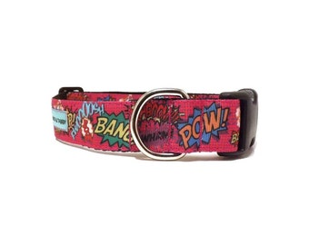 """Pink Comic Fighter Dog Collar 