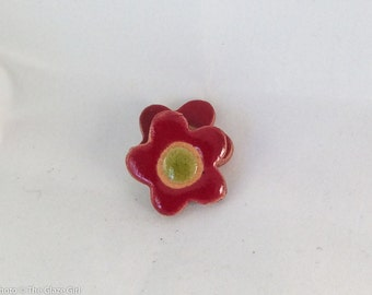 "Ceramic Buttons - Flower Buttons - Red & Green- 1 1/16"" with button backs"