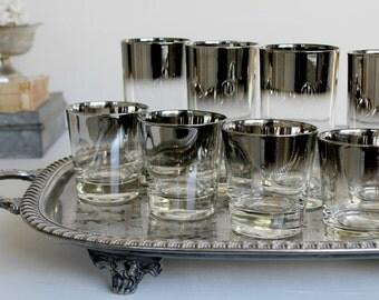 Vintage Mercury Glasses 8/s Lowball Glasses - and Highball Lusterware - Vintage Bar