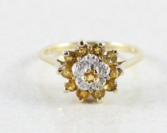10k Yellow Gold Natural Citrine and Diamond Ring Size 7