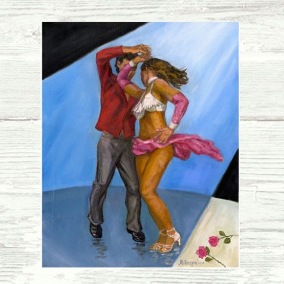 Spotlight Salsa PRINT or CANVAS Salsa Art. Salsa Dancing Performers, Salsa Dancing Art, Couple Dancing on Stage