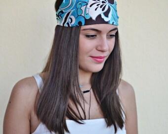 Turquoise Headband, Floral Headband, Running Headband, Yoga Headband, Boho Headband, Workout Headband, Womens Turban, Womens Headband