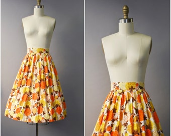 1950's Orange Floral Cotton High Waist Skirt • small