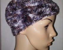Knitted warm hat in Brown and grey tones