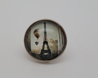 Glass Popper Charm Eiffel Tower Hot Air Balloon Snap Jewelry Charms
