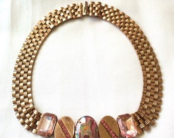 1950s Pink-Tinted Copper Pink Stones Choker Necklace