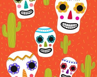 Day of the Dead Skulls and Cacti
