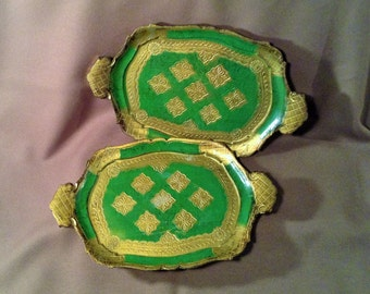 Set of 2 Vintage Ornate Trays - Green, Gold, Red -  Embellished Italian - Bohemian or Boho Decor - Made in Italy, Florence - O.F.M