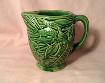Ceramic Green Pitcher - Picture of Birds