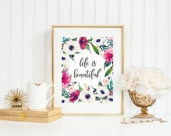 Life Is Beautiful, Flower Art Print, Boho Watercolor Wreath