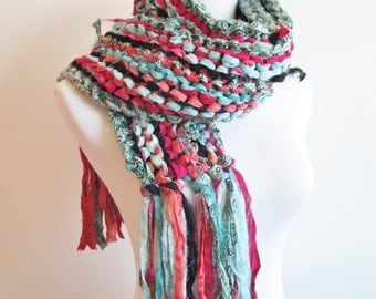 Knit Sari Silk Scarf ~ Knitted Ribbon Scarf ~ Multicolor Sari Scarf ~ Teal Fuschia Navy and Salmon Scarf ~ Hand Knit Scarf