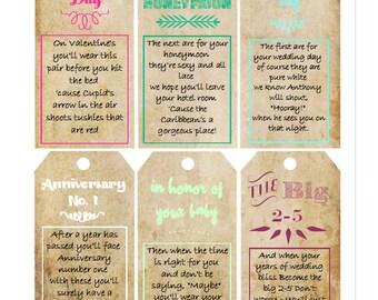 Bridal Shower Panty Poem Gift Tags