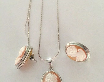 Carved Shell Cameo Necklace and Earring Set, Sterling Silver Chain, Cameo Earring Posts