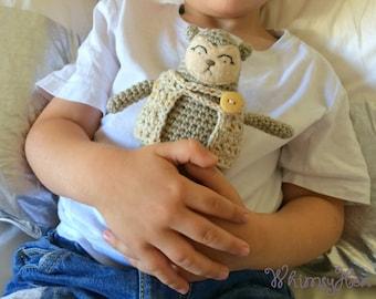Teddy Bear Plush Toy - Crochet Amigurumi Ecru/Beige/Oat Teddy Bear with Jacket - OTIS