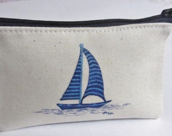 Nautical Coin Purse, Hand painted Coin Purse, Sailing Boat Purse, OOAK Purse