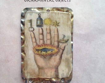 Hand of the Philosopher, Vintage Style-1650s European Alchemist Image, Handmade Vintage Style Resin Pendant, amber, gold, charm