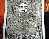 Jimi Hendrix Letterpress Print by Posterography