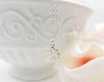 Sterling Silver 4 Leaf Clover Necklace Minimalist 4 Leaf Clover Layering Necklace Good Luck Gift New Endeavor Gift Graduation FREE US Ship