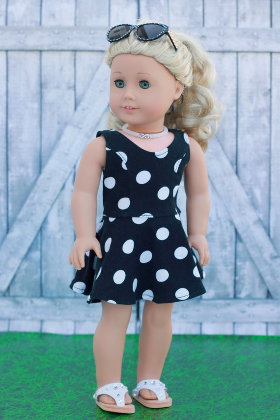 American Made Doll Clothes - Black White Dot Print Sleeveless Princess SKATER DRESS for 18 Inch