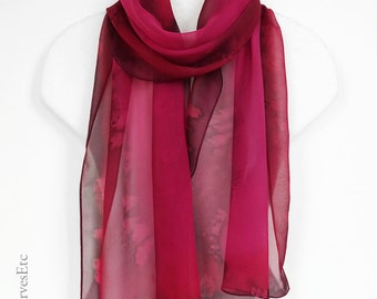 Abstract silk chiffon scarf, Hot pink silk scarf, Hand painted silk, Hand dyed sheer silk scarf, Pink Red scarf, Burgundy, Mother's day gift