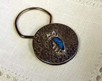 Key Chain - Owl - Turquoise - Silvertone Metal