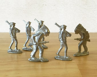 Cast Metal Soldiers Lot of Six / Infantry Soldier #2, Indian #3 from the A.C. Gilbert American Flyer Kaster Kit