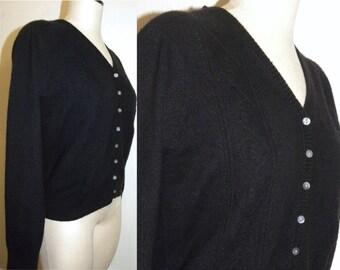 1990's 90s Cardigan / SWEATER / Black / Cashmere / Silk / Liz Claiborne / Pin Up / Vintage L