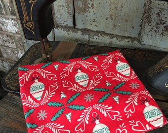 Fabric 1 YARD: Retro Christmas Fabric - Red Holiday Ornaments - Dear Mr Claus by Cosmo Cricket for Moda Fabrics Retired