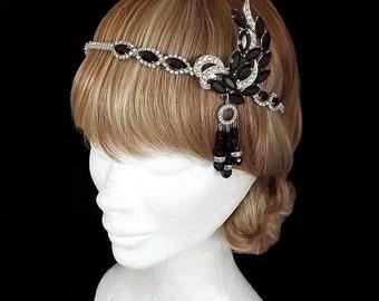 Vintage Black Great Gatsby Headpiece, Black Gatsby Headband, 1920's Headpiece, Art Deco, Crystal, Flapper, Rhinestone, Event, Costume, Ball