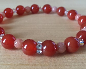 Moonstone & Carnelian Gemstone Beaded Stretch Bracelet Accented With Swarovski Crystals