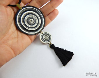 Black tassel necklace, christmas gift, polymer clay disks, artisan necklace, black and white pendant, long faux suede cord, clay necklace