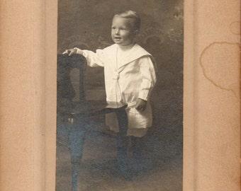 Antique Photo of Cute Little Boy in Sailor Suit