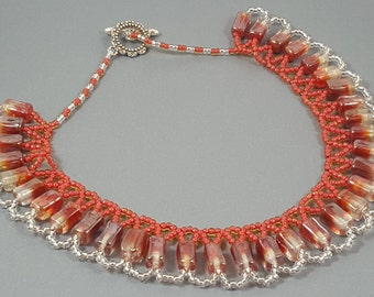 Handmade red and white necklace. Double shade bead necklace. Beadwoven handmade necklace.