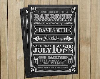 Chalkboard BBQ Birthday Invitation, Barbecue, Backyard Bash, Printable, Custom Digital File
