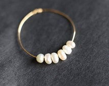 Minimalist Pearl Ring, Handmade Minimalist Gold Ring, White Pearl Ring, Thin Gold Band, Stacking Ring, Knuckle Ring, Gold Bead Ring