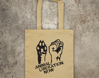 ANIMAL LIBERATION NOW  tote shopper bag vegan veggie animal rights alf protest shopping