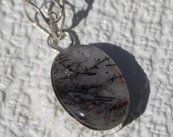 Natural, Black Rutilated Quartz, Gemstone Silver Pendant