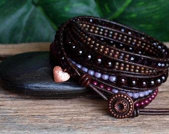 Garnet Gemstone Beaded Wrap Bracelet, Gemstone and Crystal Bracelet, Beaded Five Wrap Bracelet, Artisan Bracelet, Burgundy Purple Bracelet