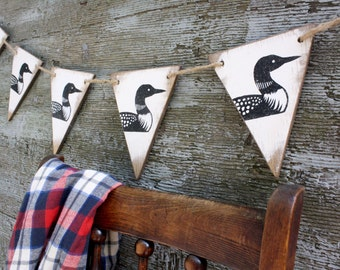 Loon Wood Banner Maine Rustic Decor  Cabin Decor Minnesota State Bird Lake House Decor Lodge Pennant Tags Signs