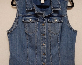 """C.J. Banks 42"""" Bust Womens X Extra Large Christopher + Banks Long Blue Stretch Denim Vest Faded Heavyweight"""