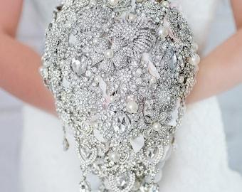 Custom Cascading Brooch Bouquet, Teardrop Silver Rhinestone Wedding Bouquet, Silk Flower Broach Bouquet, Diamante Jewelry Crystal  - 9 inch