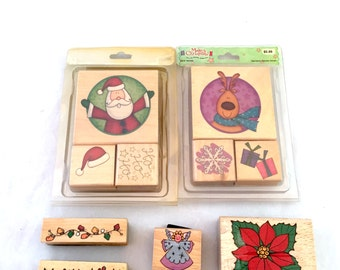 Christmas Card Making Stamp Lot, Wooden Backed Rubber Stamps, Santa Poinsettia Lights Angel Holly Reindeer Christmas Lights Presents Hat