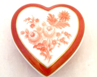 Heart Hand Painted Monochromatic Red Orange Floral Porcelain, Roses Dresser Trinket Box, Cottage Chic, Shabby Miniature Lidded Jewelry Box