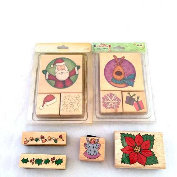 Christmas Card Making Stamp Lot Wooden Backed Rubber Stamps