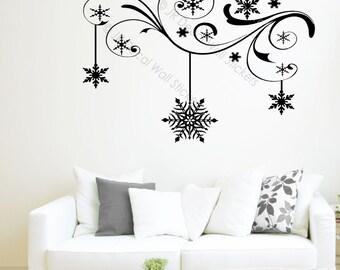 Floral Branch Vinyl Wall Art Sticker Winter Snowflake Wall Decal Christmas Shop Home Decor JRD-SE-14