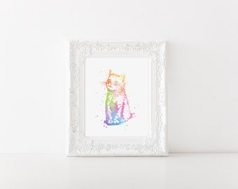 Watercolor Cat Print - Cat Art - Cat Watercolor Art - Nursery Decor - Cat Lover Gift - Colorful Wall Art - Watercolor Prints