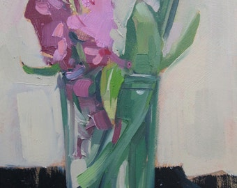 A Portrait of Hyacinth, art, original oil painting, small painting, still life, hyacinth, spring, wall art