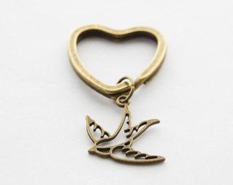 Swallow Bird Keychain Personalized Bronze Keychain Antique Swallow Bird Custom Bird Heart Keychain Swallow Keychain Rockabilly Bird Charm